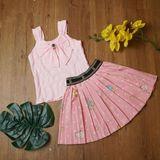 Bộ Áo Đũi Nơ Bướm + Váy Xếp Ly - Angel Kids - BG21032