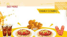Family combo -mỳ ý, gà chiên, xúc xích